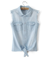 denim vest summer/autumn women down vest light blue size S M  L welcome wholesale sky blue color