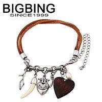BigBing Fashion Leather rope heart retro punk Bracelet fashion jewelry fashion bracelet nickel free Free shipping! Q626