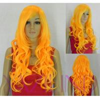 Long Wavy Curly Bright Orange Ramp Bangs Cosplay Synthetic Hair Full Wig  Peluca Perucke Perruque