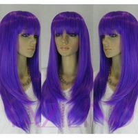 Long Women's Dark Purple Straight Full Bang Synthetic Hair Wig Cosplay  Peluca Perucke Perruque