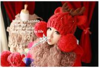 New Fashion  Cute  Red Little Dear Horns Big Knitted Ball Hat for Women Winter Devil Horns Cat Ear  Beanie#AN245