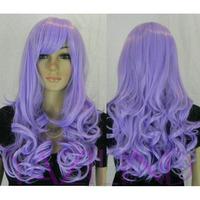 Long Wavy Curly Lavender Purple Full Bangs Synthetic Hair Full Wig Cosplay  Peluca Perucke Perruque