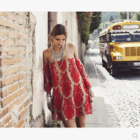 2014 new fashion brand women sweet white red sexy gauze embroidery word off-the-shoulder long-sleeved lace dress
