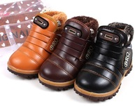 2014 Boys and girls shoes winter warm snow boots fashion rivet high shoes free shipping size21-30 Plush children's winter boots