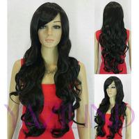 Dark Black Long Wavy Curly Ramp Bangs Cosplay Synthetic Hair Full Wig  Peluca Perucke Perruque