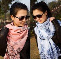 Nice Chiffon Scarf Women High Quality Flower Print Chiffon Georgette Silk Scarves Shawl Female Long Design