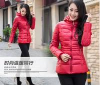 Free shipping Winter Women's Slim Feather Casual Cotton Padded Hooded Jacket thick Coats Parka
