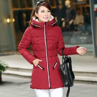 Winter Women/Students Brand Casual Gift Parka Short Fashion Down Coat New Dress 2014 Wine red XXXL  YY0620