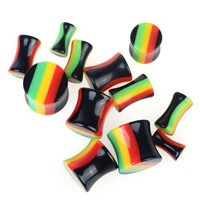 12Pcs Body Piercing Acrylic Double Flare Ear Tunnels Plugs Flesh Earlet Expander Stretcher Multicolors