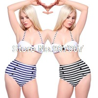 Women's Sexy Swimwear White Navy Stripe Print Sexy Two-piece Pin Up Swimsuit Top High Waist Bikini Sets High Quality Swimsuits