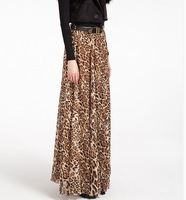 New in 2014 autumn winter women fashion top quality leopard print long chiffon skirt maxi floor length plus size casual skirts