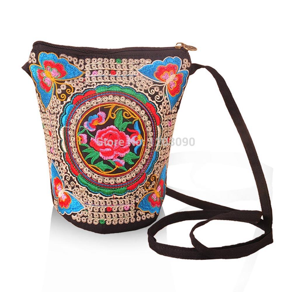 2014 New Vintage Boho Hobo Hmong Ethnic Embroidery Shoppers Bag Women's shoulder bag Embroidered handbag(China (Mainland))