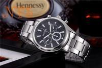 2014 Men's Full Steel Quartz Watch Men Casual Fashion Dress Wristwatch with Calendar 30m Waterproof Man Business Clock Hour