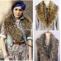 2014 New Winter Women's Trendy Faux Raccoon Fur Warm Large Scarf Shawl Shrug Collar Warm Shawl Wrap Stole Cape Free shipping