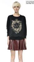 Plus size black printed sweatshirt women new 2014 korean style pullover moletom diamond Free shipping