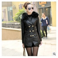 New Arrival 2014 Autumn Women Slim long Plus Cotton Leather Jacket Coat Double Breasted Fur Collar PU Motorcycle Leather Coat