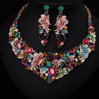 Hot Sale Butterfly Design Women Crystal Rhinestone Bridal Jewelry Set African Wedding Jewelry Set Big Necklace Earrings