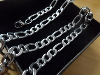 Wide 7mm Figaro Link Chain Stainless Steel Women Men Fashion Silver Necklace Chain 16''-32''