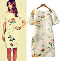 Autumn Winter Fashion Women Vestidos Casual Dress Slim Short Sleeve Knee-Length Dress Ladies' Design Brand Print Floral Dress