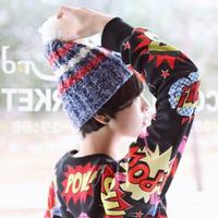 Hot Sale 2014 New Fashion Stripe Knitting Hat With Ball Women's Winter Beanie Cap Skullies HTZZM-413