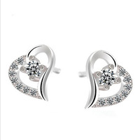 Fashion Women 925  Sterling  Silver Simulated Diamond AAA Zirconia Clear Crystal Love Heart  Stud Earrings Women Jewelry