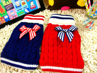 Mix sizes and colors order!wholesale 4pcs/lot XXS/XS/S/M/L 100% acrylic pet navy sweaters,dog sweater,dog clothes for winter