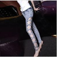 women pant European and American fashion super sexy side cross hollow retro snowflake Slim skinny jeans feet