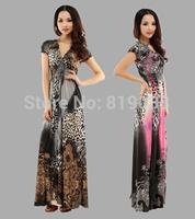 The new beach dress  Leopard bohemian dress mopping the floor  Large ice silk dress code women's dress