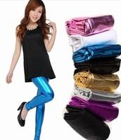 Women pant candy colored light / metallic leather pants tight leggings nine women pu pants