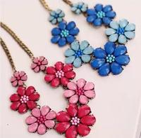 European and American fashion retro exaggerated female sea blue crystal rhinestone flower necklace