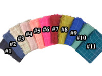 10pcs/lot Oversize Plaid Check Scarf Shawl Hijab Wrap Frayed Edge Women's Accessories, Free Shipping