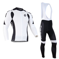 Men Bike Team Long Sleeves Cycling suit/jersey/(bib)pants trousers white&black cycling wear  bicycle sportswear