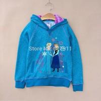 2014 Autumn Winter Brand Girls frozen sweater frozen hoodie elsa & anna children hoody sweatshirt fleece girl frozen jacket