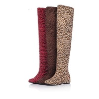 New 2014 Boots for women Sexy Inside Heel Stretched Faux leopard  Suede Over Knee Length High Boots Winter Eur 35-43