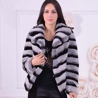 FS806149 Genuine Rex Rabbit Fur Coat Jacket Garment Shawl Chinchilla Color  Top S-3XL Plus Size Wholesale Retail OEM