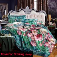 Free shipping Transfer printing desing luxury bedding set king size,transfer printing duvet cover king size,luxury bedding sets