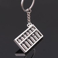 Silvery Chinese Style Accounting Special Purpose Tool 8 Rows Abacus Keychain Key Chain Ring Keyfob Keyring