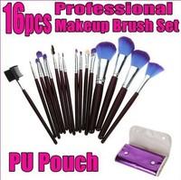 Fashion New 16 Pcs Professional 16Pcs Make Up Brushes Facial Cosmetic Kit Beauty Bags Set Makeup Free Shipping Z631