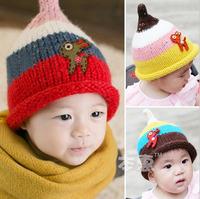 2014 New Autumn Cute cartoon deer baby girls knit Hats Winter wool Hat Kids Earflap Cap 1-3 Years Old