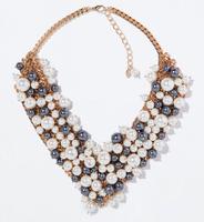 JC100 Fashion Design Women Jewel ZA GOLDEN PEARL RHINESTONE NECKLACE 2014 COLLECTION Blogger Statement No Min Order Best Price
