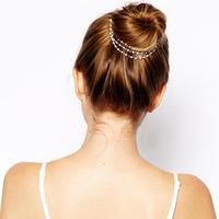 Hot sale boho chic hair accessories vintage brand pearl head chain gold hair pins wedding bride hair jewelry headpiece