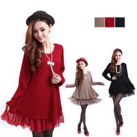 New women's Casual Long Sleeves Knit Loose Tops Dress 3 Colors