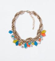 JC100 Fashion Design Women Jewel ZA RHINESTONE NECKLACE 2014 COLLECTION Geometric Colorful Pendant Statement  Choker Best Price