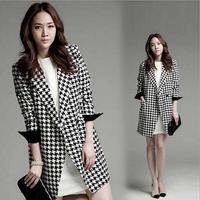 2014 Autumn Winter Women's Clothing Fashion Classical Black White Plaid Medium-long Blazer Long Sleeve Houndstooth Trench Coat