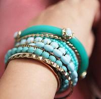 Min.Order $8.8(Mix Order) NEW 2014 Hot Sale Bohemia Fashion Women Beaded Layered Bracelet Bangles FB0035