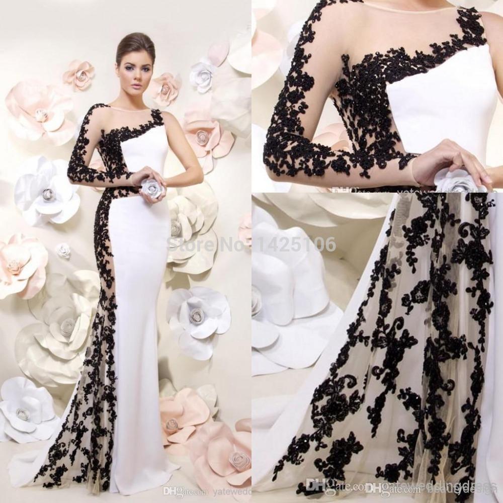 2015 modern mermaid black applique lace one long sleeve backless floor