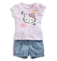 2014 new Baby-show summer girls cartoon picture color striped leisure suit