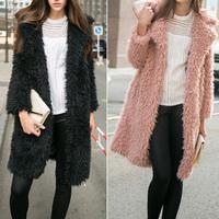 2014 New Fashion Women Hairy Shaggy Faux Lamb Wool Fur Cardigan Long Trench Coat Outerwear SUPER QUALITY