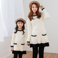 Family looke Winter family sets clothes for girl dresses family clothing for mother and daughter clothes dress knitted sweater