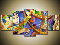 Hand Painted Abstract Oil Painting On Canvas Queen Beauty Modern Art Home Decoration 5 Pieces Painting Free Shipping